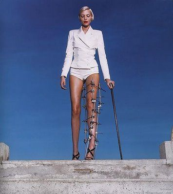 """The Empowered Woman"" Vogue 1995 by Helmut Newton, featuring model Nadja Auermann"