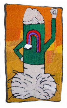 Figure 4. Nick Pagan, Power to the Boner #1. 2010. Handmade needle-punch yarn rug. 26 x 43.5. Image courtesy of Creative Growth.
